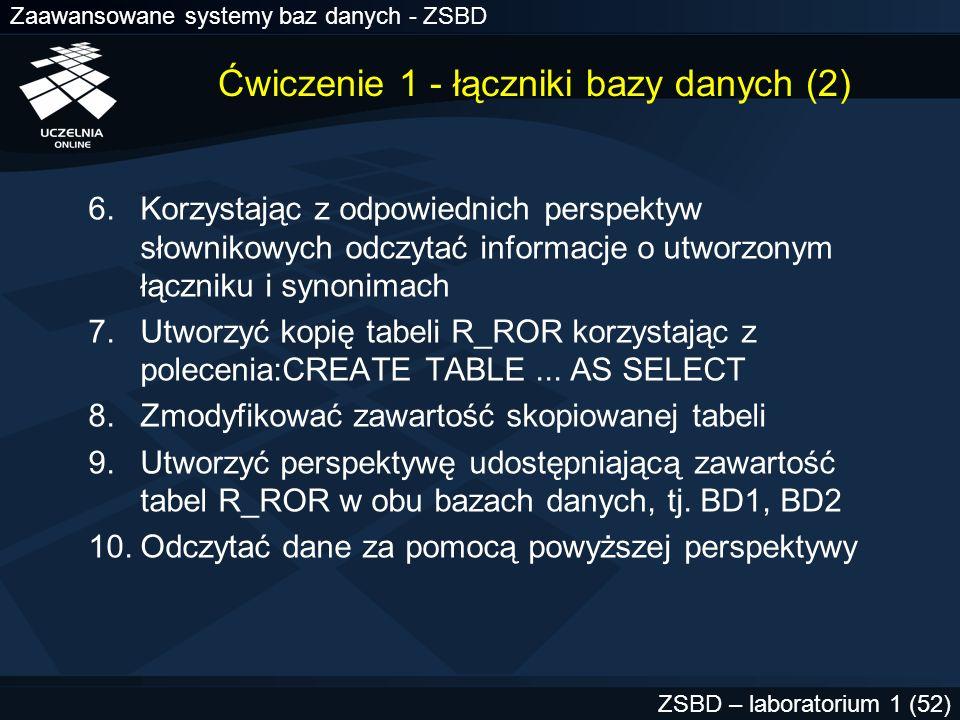 Zaawansowane systemy baz danych - ZSBD ZSBD – laboratorium 1 (52) Ćwiczenie 1 - łączniki bazy danych (2) 6.Korzystając z odpowiednich perspektyw słown