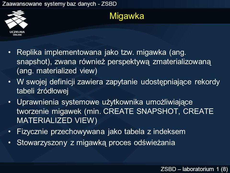 Zaawansowane systemy baz danych - ZSBD ZSBD – laboratorium 1 (39) USER_SNAPSHOT_REFRESH_TMIES USER_MVIEW_REFRESH_TIMES select name, to_char(last_refresh, dd.mm.yyyy:hh24:mi:ss ) s last_refresh from user_snapshot_refresh_times; NAME LAST_REFRESH --------- ------------------- MV_SKLEPY 12.02.2002:18:05:00 Informacje o odświeżaniu migawek