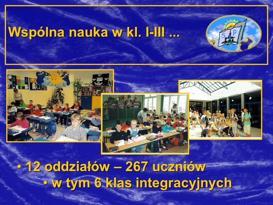 Wspólna nauka w kl. I-III... 12 oddziałów – 267 uczniów w tym 6 klas integracyjnych