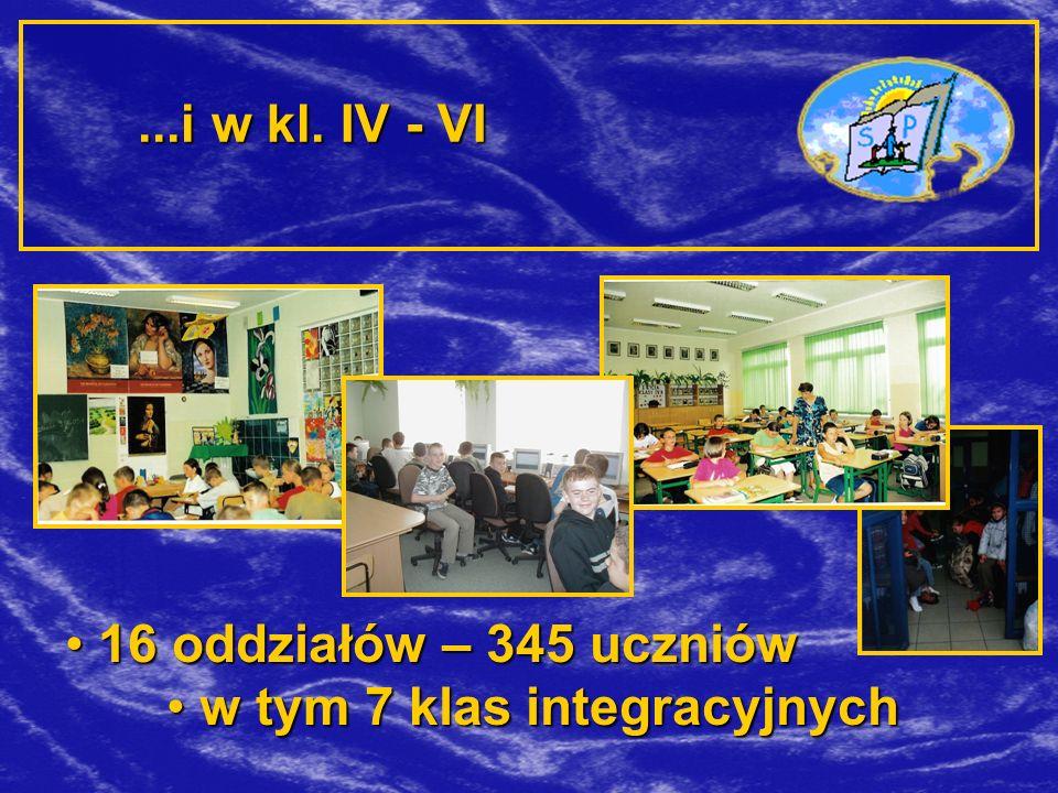 ...i w kl. IV - VI 16 oddziałów – 345 uczniów w tym 7 klas integracyjnych