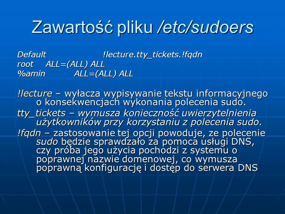 Zawartość pliku /etc/sudoers Default!lecture.tty_tickets.!fqdn rootALL=(ALL) ALL %aminALL=(ALL) ALL !lecture – wyłacza wypisywanie tekstu informacyjne