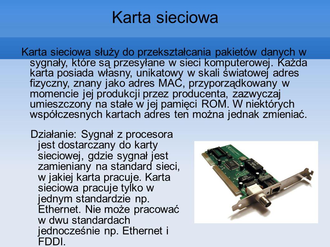 Karta sieciowa służy do przekształcania pakietów danych w sygnały, które są przesyłane w sieci komputerowej. Każda karta posiada własny, unikatowy w s