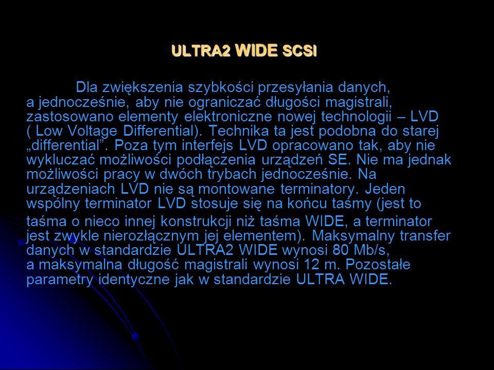 ULTRA2 WIDE SCSI Dla zwiększenia szybkości przesyłania danych, a jednocześnie, aby nie ograniczać długości magistrali, zastosowano elementy elektronic