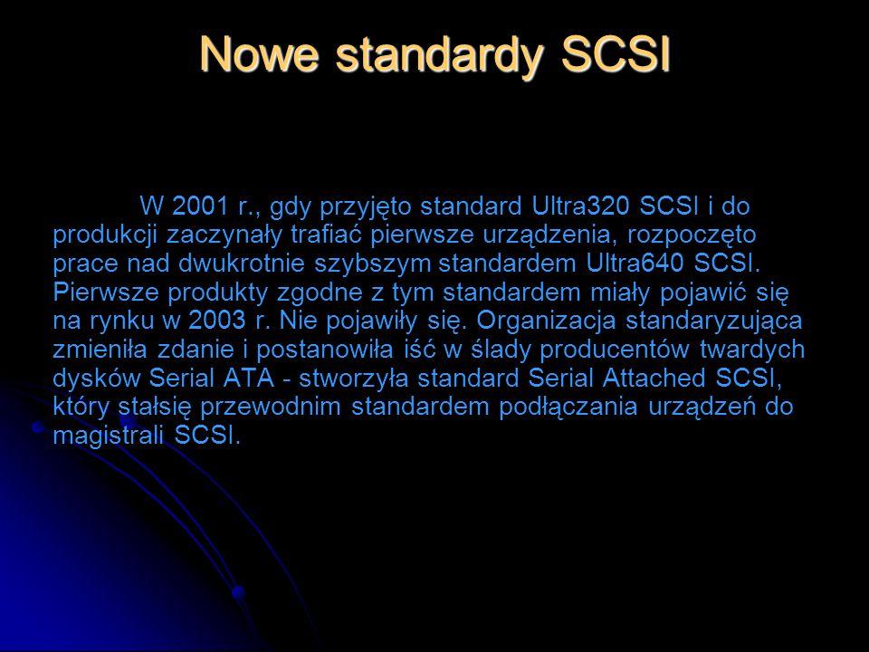 Nowe standardy SCSI W 2001 r., gdy przyjęto standard Ultra320 SCSI i do produkcji zaczynały trafiać pierwsze urządzenia, rozpoczęto prace nad dwukrotn