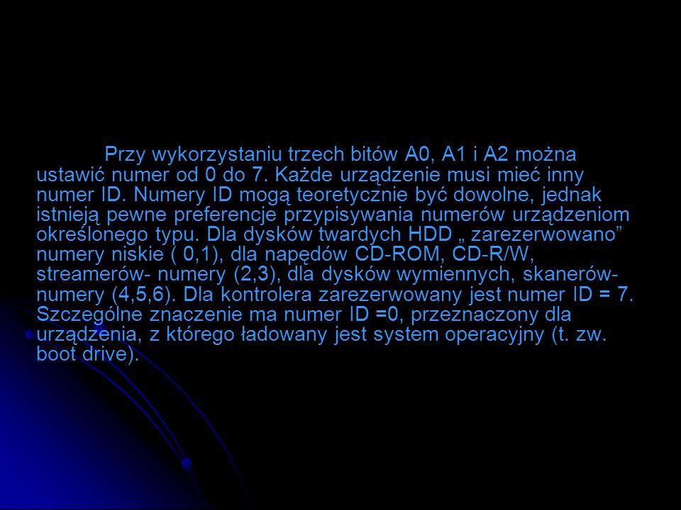 Przy wykorzystaniu trzech bitów A0, A1 i A2 można ustawić numer od 0 do 7. Każde urządzenie musi mieć inny numer ID. Numery ID mogą teoretycznie być d