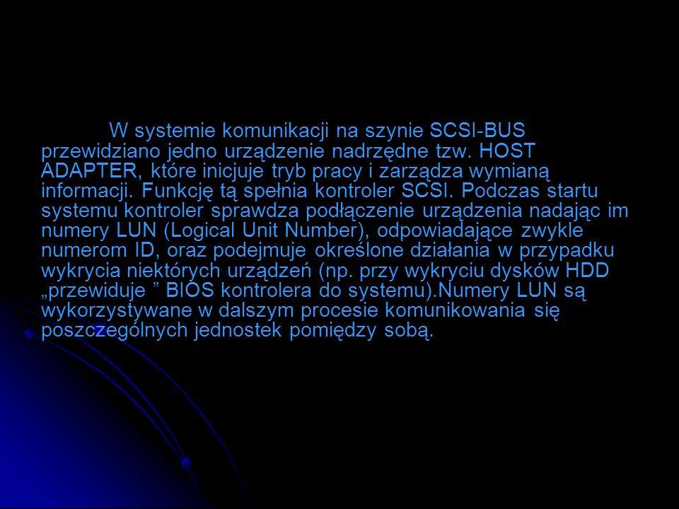 W systemie komunikacji na szynie SCSI-BUS przewidziano jedno urządzenie nadrzędne tzw. HOST ADAPTER, które inicjuje tryb pracy i zarządza wymianą info