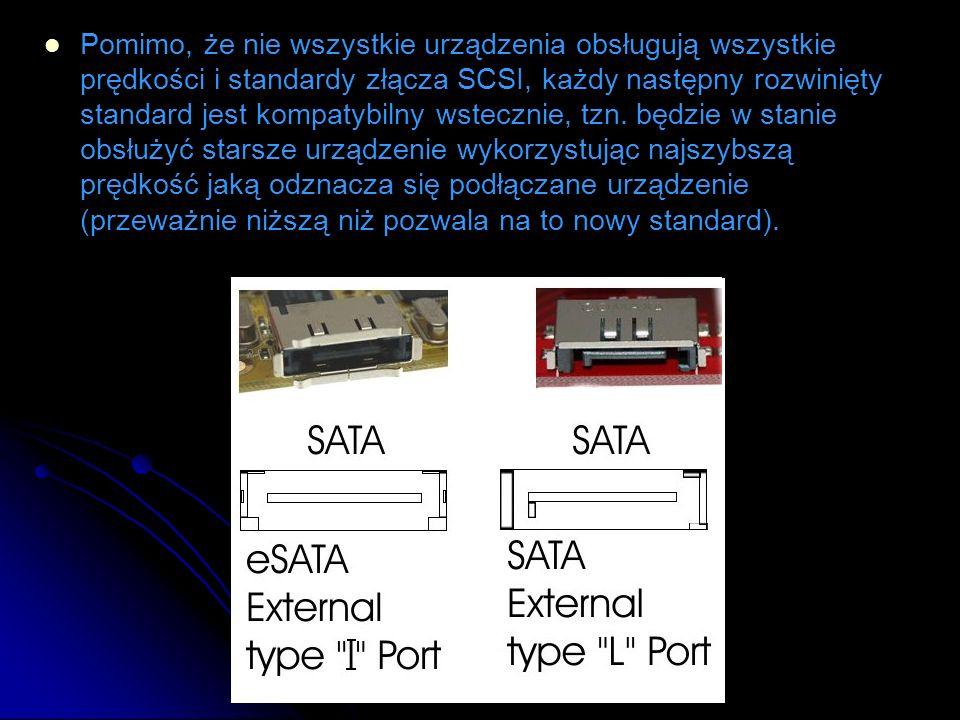 Pomimo, że nie wszystkie urządzenia obsługują wszystkie prędkości i standardy złącza SCSI, każdy następny rozwinięty standard jest kompatybilny wstecz