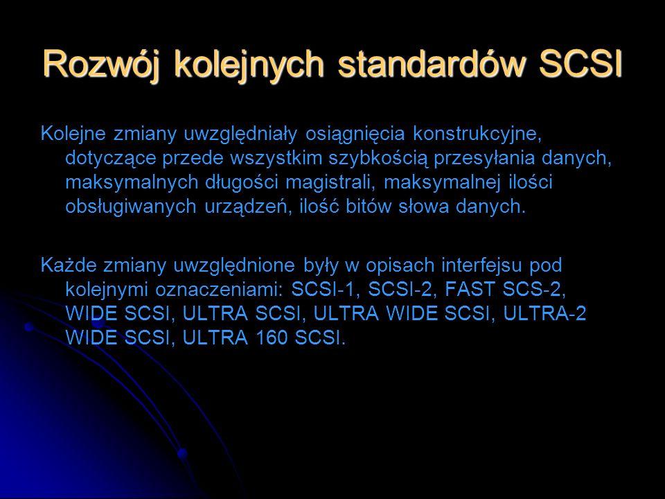 Rozwój kolejnych standardów SCSI Kolejne zmiany uwzględniały osiągnięcia konstrukcyjne, dotyczące przede wszystkim szybkością przesyłania danych, maks
