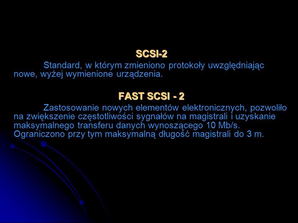 SCSI-2 Standard, w którym zmieniono protokoły uwzględniając nowe, wyżej wymienione urządzenia. FAST SCSI - 2 Zastosowanie nowych elementów elektronicz