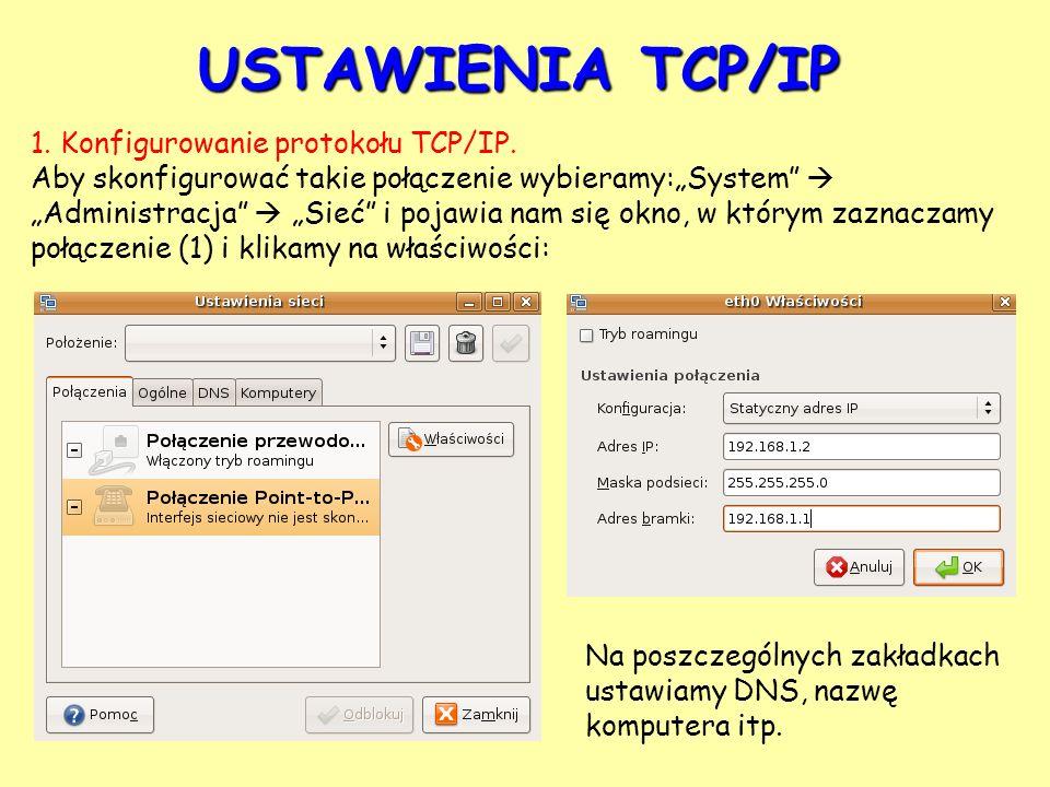 USTAWIENIA TCP/IP 1. Konfigurowanie protokołu TCP/IP. Aby skonfigurować takie połączenie wybieramy:System Administracja Sieć i pojawia nam się okno, w