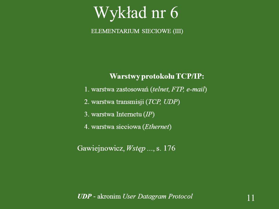 11 Wykład nr 6 ELEMENTARIUM SIECIOWE (III) Warstwy protokołu TCP/IP: 1. warstwa zastosowań (telnet, FTP, e-mail) 2. warstwa transmisji (TCP, UDP) 3. w