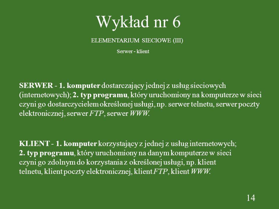 14 Wykład nr 6 ELEMENTARIUM SIECIOWE (III) SERWER - 1. komputer dostarczający jednej z usług sieciowych (internetowych); 2. typ programu, który urucho