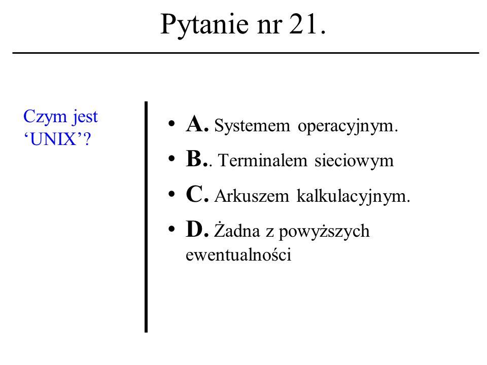 Pytanie nr 20. Tzw. sesja A. To nazwa głównego komputera w Internecie.