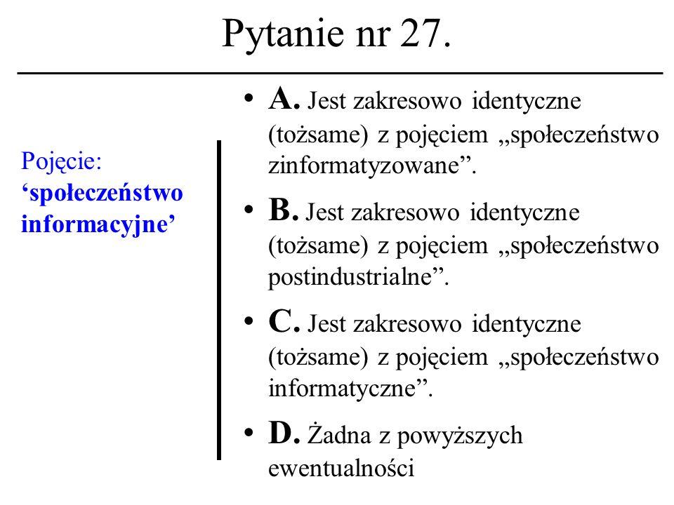 Pytanie nr 26. Logout A. To polecenie otwarcia sesji na hoście unixowym.