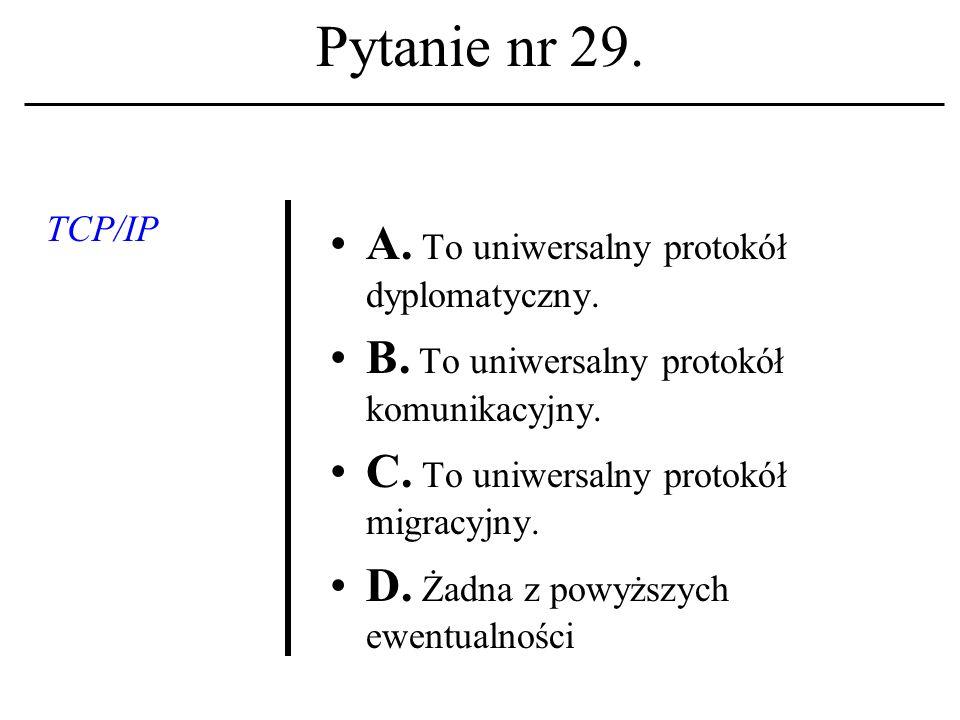 Pytanie nr 28.Protokół komunika- cyjny A. Reguluje zasady kontaktu między komputerami w sieci.