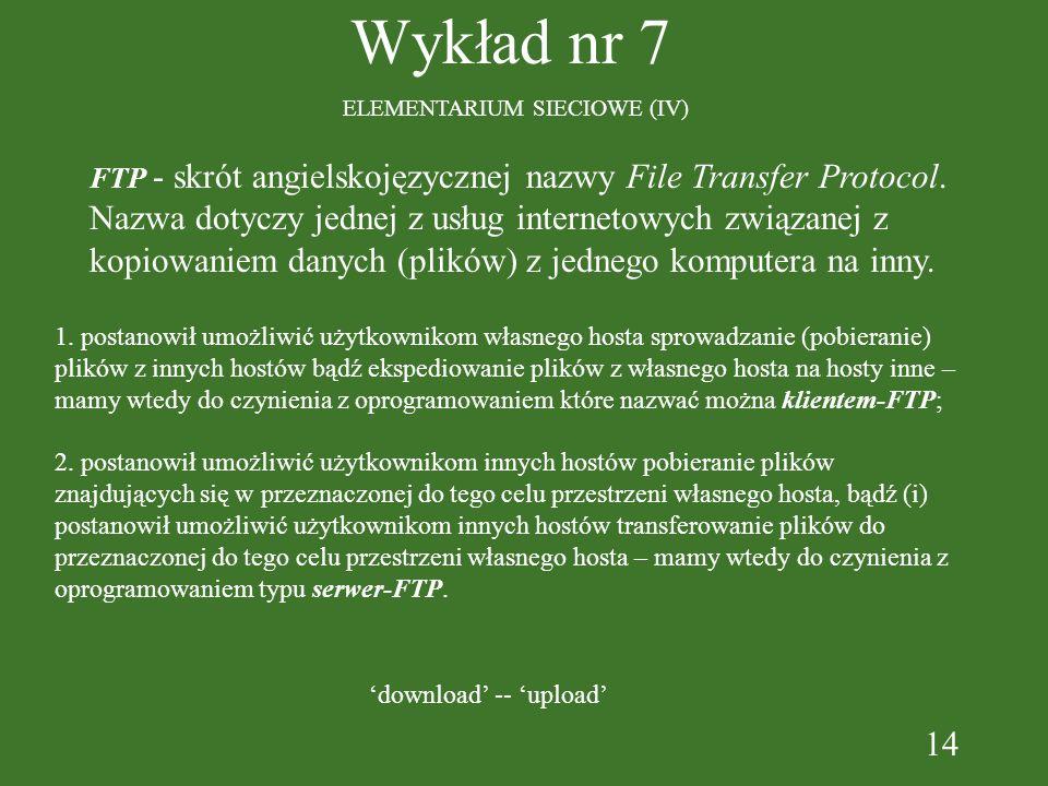 14 Wykład nr 7 ELEMENTARIUM SIECIOWE (IV) FTP - skrót angielskojęzycznej nazwy File Transfer Protocol.