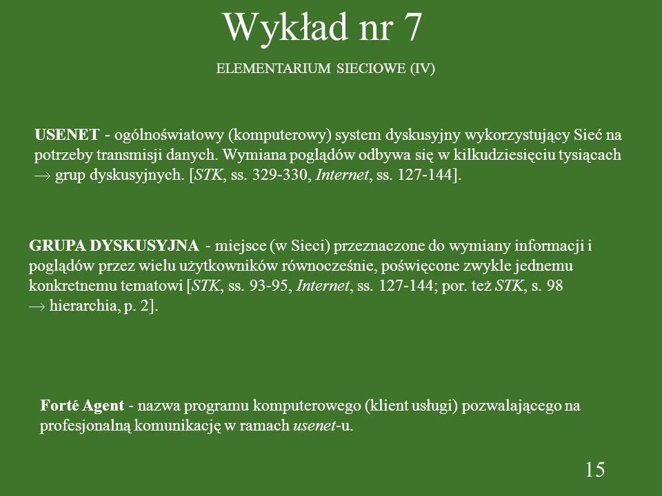 15 Wykład nr 7 ELEMENTARIUM SIECIOWE (IV) USENET - ogólnoświatowy (komputerowy) system dyskusyjny wykorzystujący Sieć na potrzeby transmisji danych.