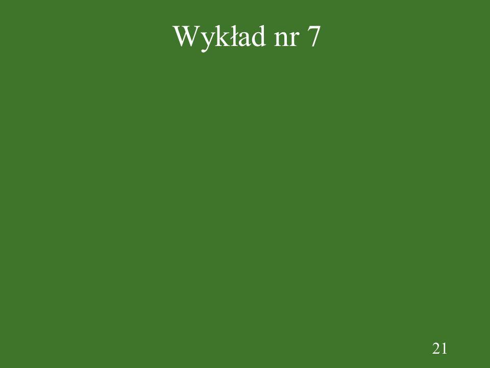21 Wykład nr 7