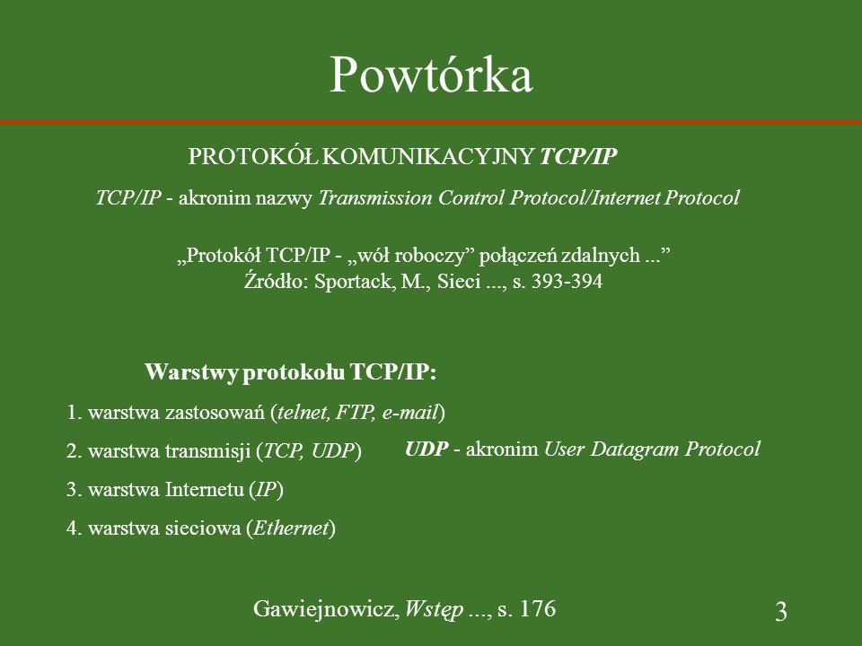 3 Powtórka Warstwy protokołu TCP/IP: 1. warstwa zastosowań (telnet, FTP, e-mail) 2.