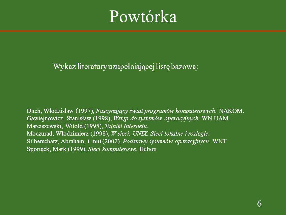 6 Powtórka Wykaz literatury uzupełniającej listę bazową: Duch, Włodzisław (1997), Fascynujący świat programów komputerowych.