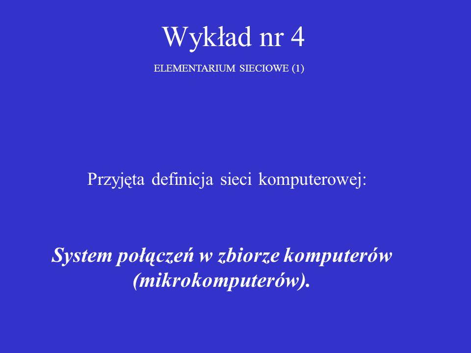 Wykład nr 4 ELEMENTARIUM SIECIOWE (1) Przyjęta definicja sieci komputerowej: System połączeń w zbiorze komputerów (mikrokomputerów).