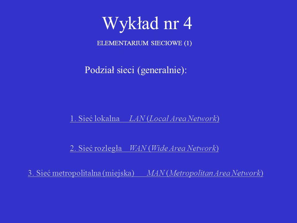Wykład nr 4 ELEMENTARIUM SIECIOWE (1) 1. Sieć lokalna LAN (Local Area Network) 2. Sieć rozległa WAN (Wide Area Network) Podział sieci (generalnie): 3.