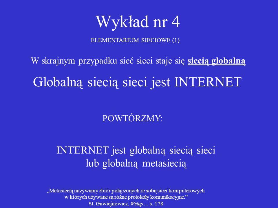 Wykład nr 4 ELEMENTARIUM SIECIOWE (1) W skrajnym przypadku sieć sieci staje się siecią globalną Globalną siecią sieci jest INTERNET INTERNET jest glob