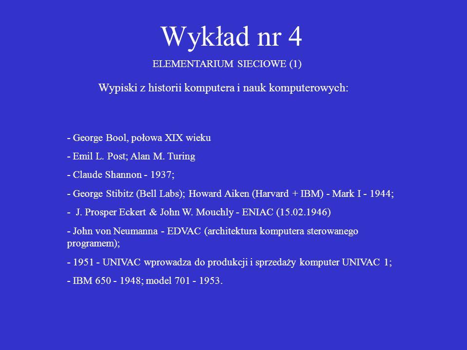 Wykład nr 4 ELEMENTARIUM SIECIOWE (1) Wypiski z historii komputera i nauk komputerowych: - George Bool, połowa XIX wieku - Emil L. Post; Alan M. Turin