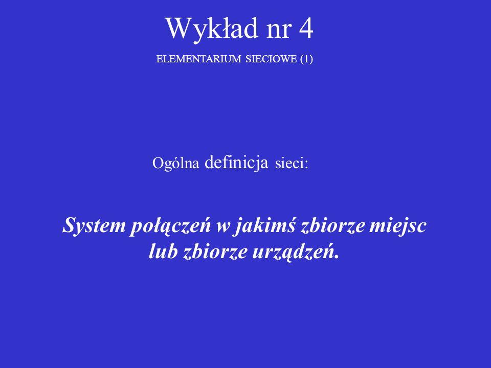 Wykład nr 4 ELEMENTARIUM SIECIOWE (1) Ogólna definicja sieci: System połączeń w jakimś zbiorze miejsc lub zbiorze urządzeń.