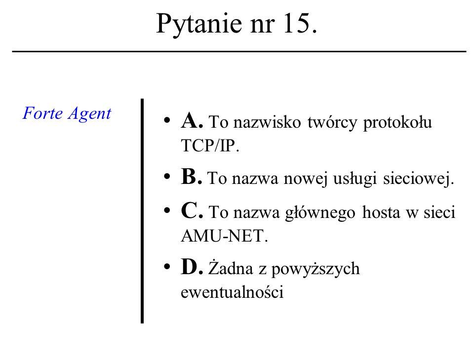Pytanie nr 14. Arytmometr i jednostka sterująca to: A. pamięć wewnętrzna; B. procesor systemu; C. pamięć zewnętrzna. D. Żadna z powyższych ewentualnoś