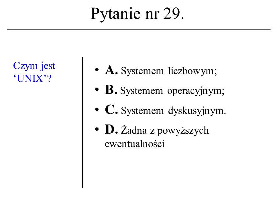 Pytanie nr 28. Ogólno- światowy system dyskusyjny, wykorzystu- jący Sieć dla potrzeb transmisji danych to: A. USERID; B. UUCP; C. USENET D. Żadna z po