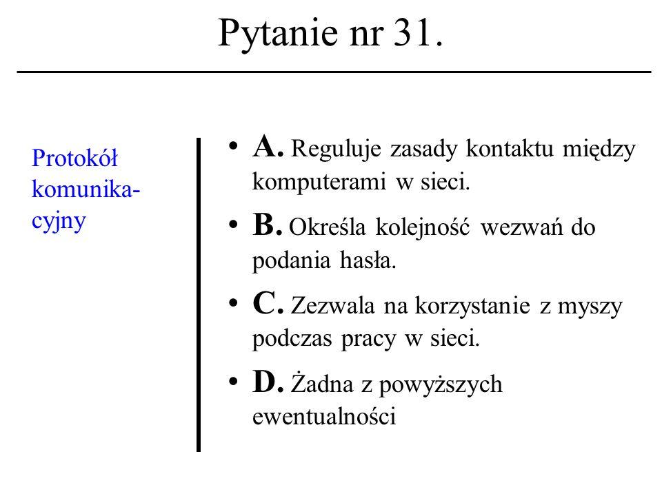 Pytanie nr 30. Termin:grupa dyskusyjna kojarzony być winien z nazwą (ew. akronimem): A. ARPANET; B. USENET; C. NSFNET. D. Żadna z powyższych ewentualn