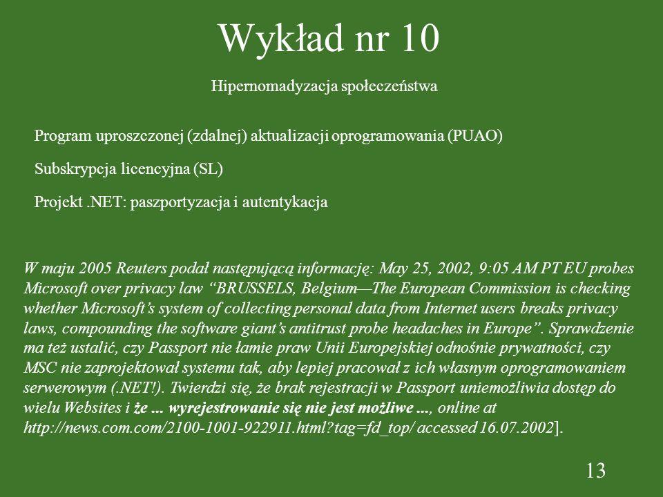13 Wykład nr 10 Program uproszczonej (zdalnej) aktualizacji oprogramowania (PUAO) Subskrypcja licencyjna (SL) Projekt.NET: paszportyzacja i autentykac