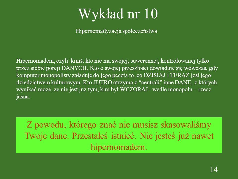 14 Wykład nr 10 Hipernomadyzacja społeczeństwa Hipernomadem, czyli kimś, kto nie ma swojej, suwerennej, kontrolowanej tylko przez siebie porcji DANYCH.