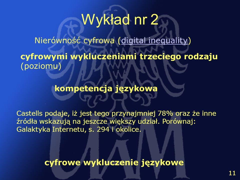 12 11 Wykład nr 2 Nierówność cyfrowa (digital inequality)digital inequality cyfrowymi wykluczeniami trzeciego rodzaju (poziomu) kompetencja językowa c