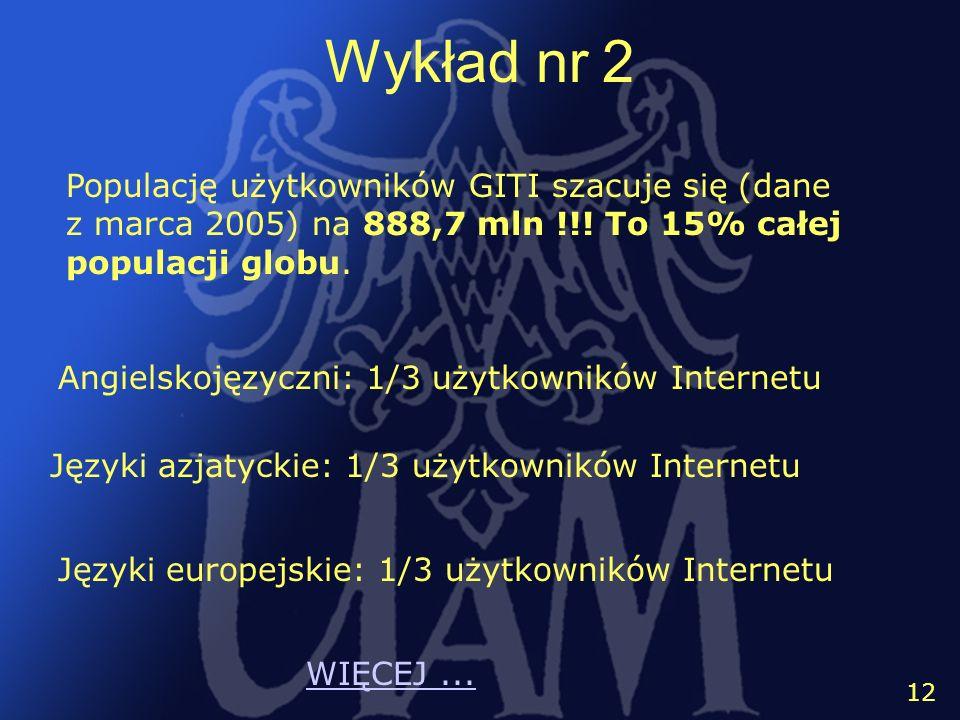 13 12 Wykład nr 2 Angielskojęzyczni: 1/3 użytkowników Internetu Języki azjatyckie: 1/3 użytkowników Internetu Języki europejskie: 1/3 użytkowników Int