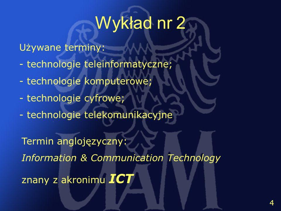 5 4 Wykład nr 2 Używane terminy: - technologie teleinformatyczne; - technologie komputerowe; - technologie cyfrowe; - technologie telekomunikacyjne Te