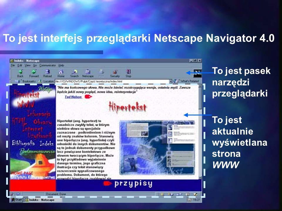 To jest interfejs przeglądarki Netscape Navigator 4.0 To jest aktualnie wyświetlana strona WWW To jest pasek narzędzi przeglądarki