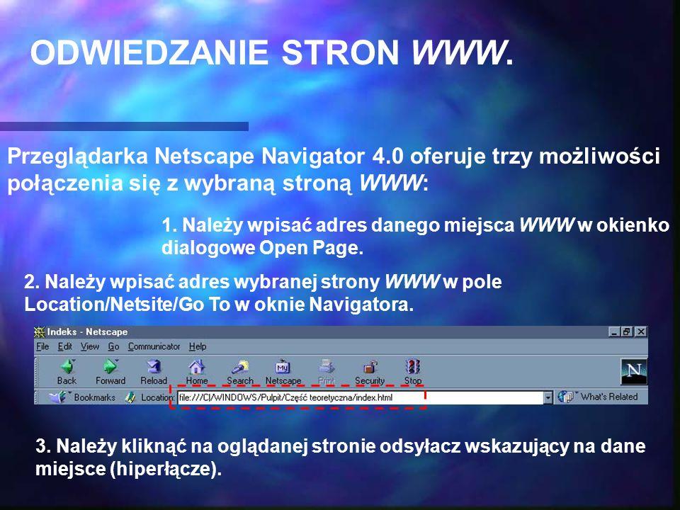ODWIEDZANIE STRON WWW. Przeglądarka Netscape Navigator 4.0 oferuje trzy możliwości połączenia się z wybraną stroną WWW: 1. Należy wpisać adres danego