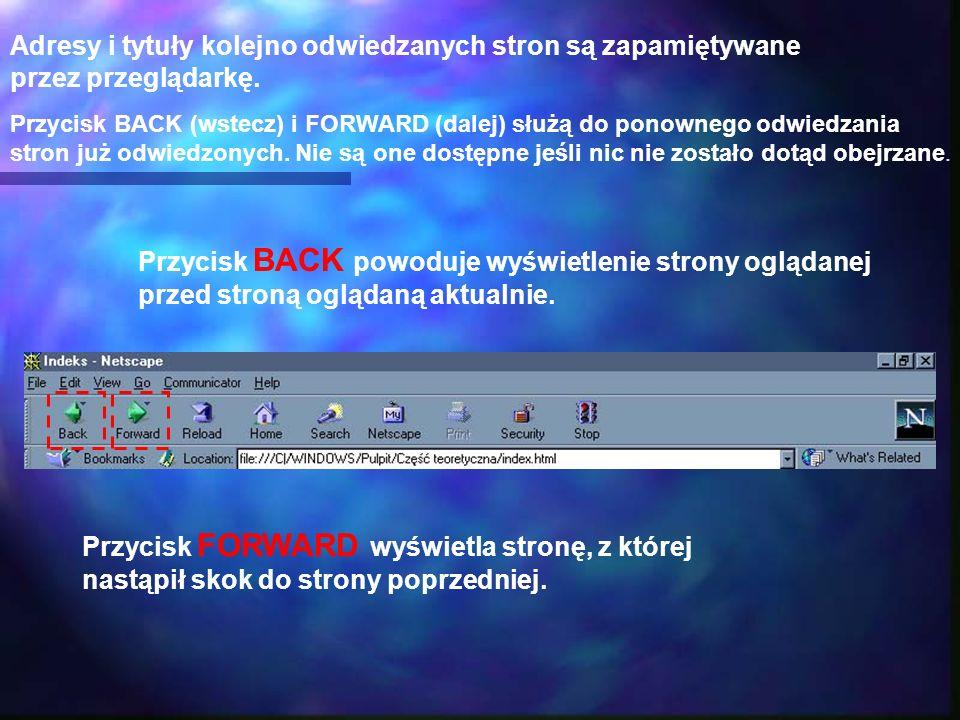 Adresy i tytuły kolejno odwiedzanych stron są zapamiętywane przez przeglądarkę. Przycisk BACK (wstecz) i FORWARD (dalej) służą do ponownego odwiedzani