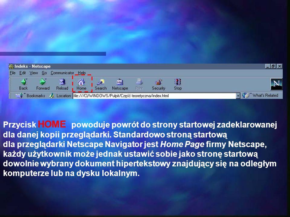 Przycisk HOME powoduje powrót do strony startowej zadeklarowanej dla danej kopii przeglądarki. Standardowo stroną startową dla przeglądarki Netscape N