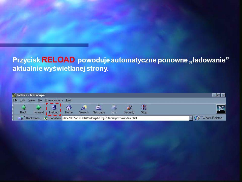 Przycisk RELOAD powoduje automatyczne ponowne ładowanie aktualnie wyświetlanej strony.