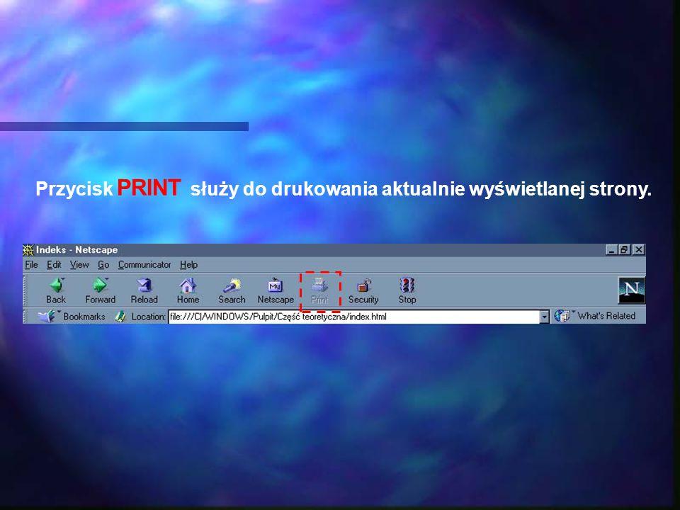 Przycisk PRINT służy do drukowania aktualnie wyświetlanej strony.