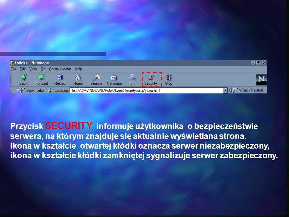 Przycisk SECURITY informuje użytkownika o bezpieczeństwie serwera, na którym znajduje się aktualnie wyświetlana strona. Ikona w kształcie otwartej kłó