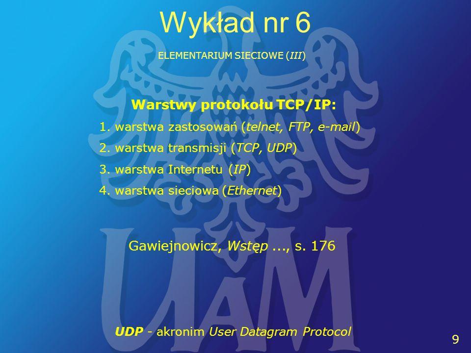 9 9 Wykład nr 6 ELEMENTARIUM SIECIOWE (III) Warstwy protokołu TCP/IP: 1.