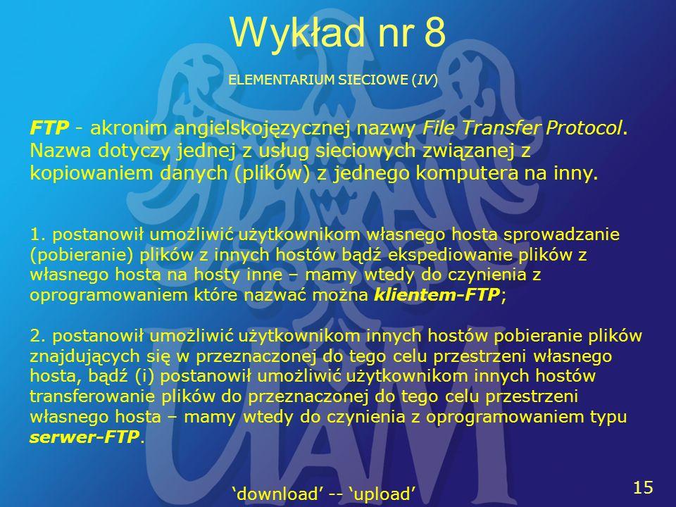 15 Wykład nr 8 ELEMENTARIUM SIECIOWE (IV) FTP - akronim angielskojęzycznej nazwy File Transfer Protocol.
