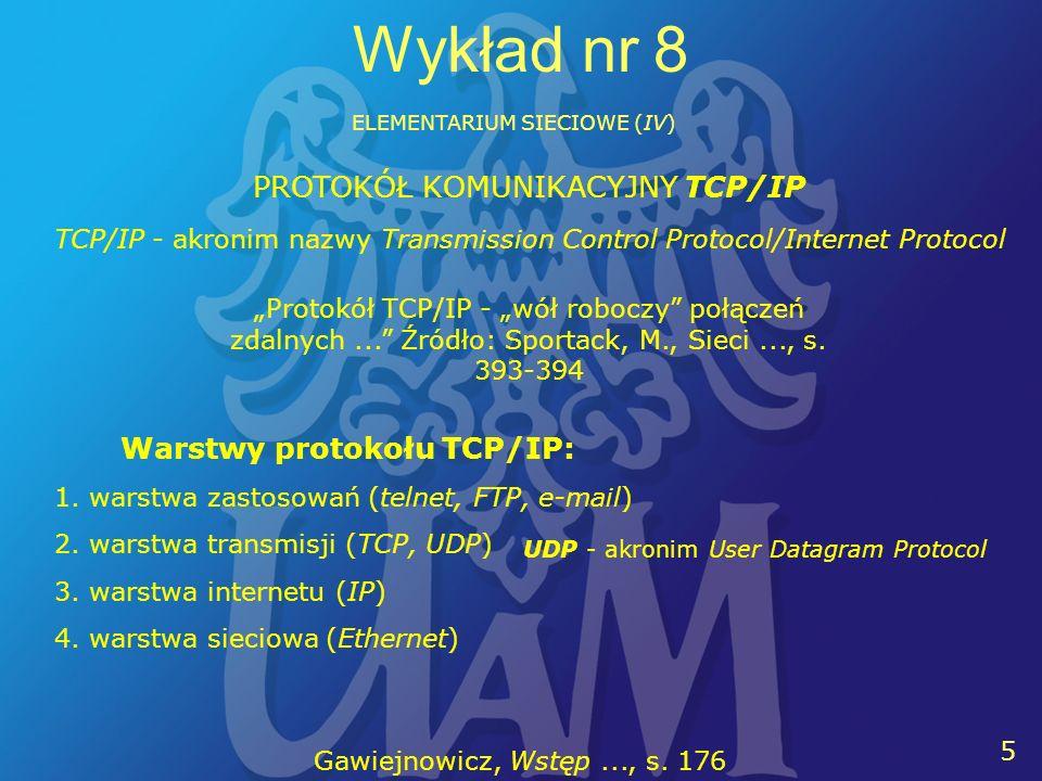 16 Wykład nr 8 ELEMENTARIUM SIECIOWE (IV) Wykaz literatury uzupełniającej listę bazową: Duch, Włodzisław (1997), Fascynujący świat programów komputerowych.