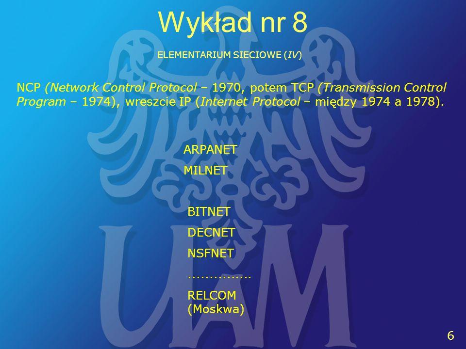 6 6 Wykład nr 8 ELEMENTARIUM SIECIOWE (IV) BITNET DECNET NSFNET...............