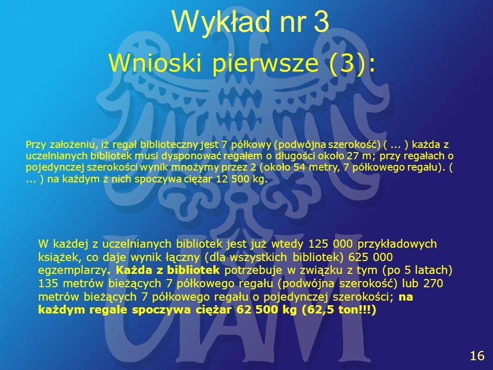 16 Wykład nr 3 Przy założeniu, iż regał biblioteczny jest 7 półkowy (podwójna szerokość) (...
