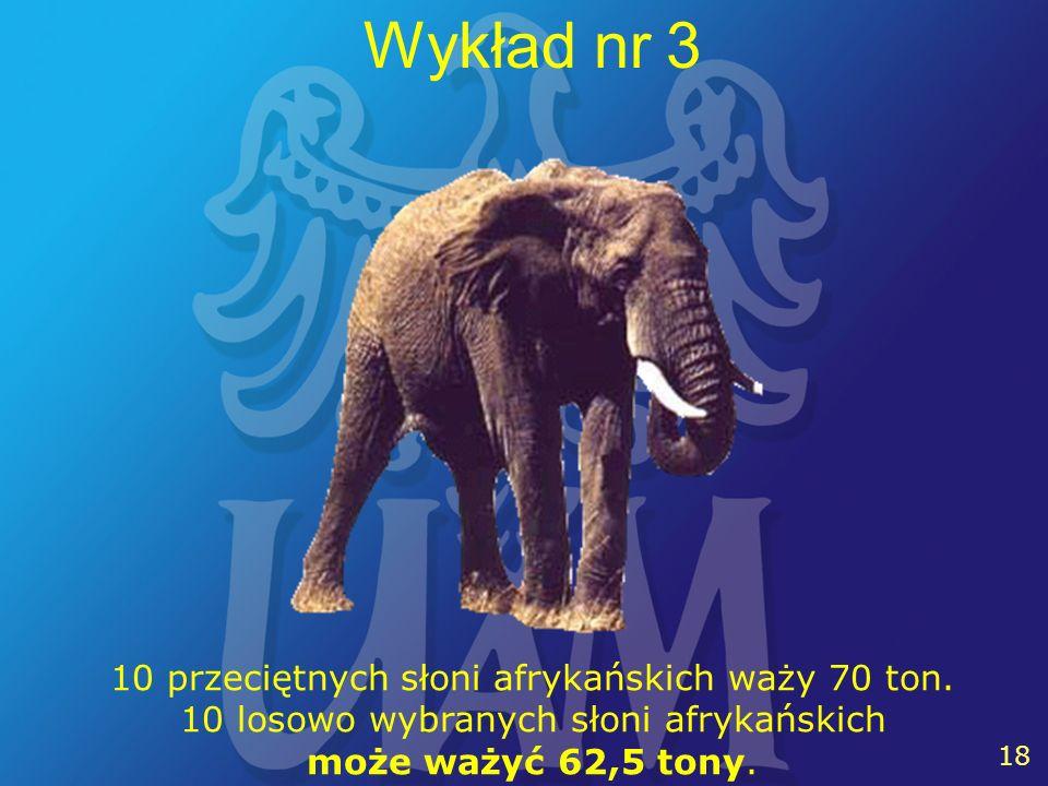 18 Wykład nr 3 10 przeciętnych słoni afrykańskich waży 70 ton.